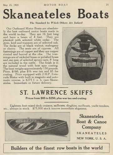 Skaneateles Boats Ad 1921