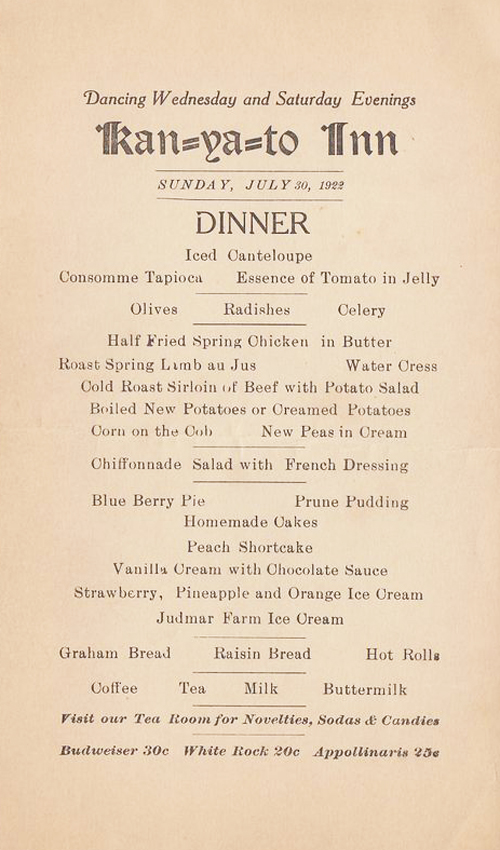 Sherwood Menu 1922