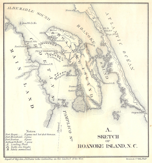 Roanoke Island Civil War Battle Map